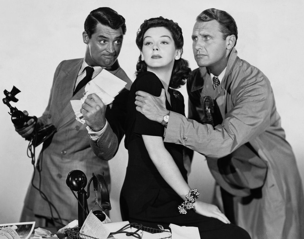 Cary Grant, Rosalind Russell and Ralph Bellamy in