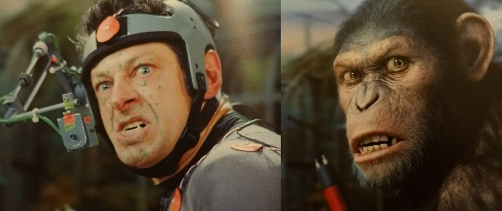 The arm in front of Serkis' face is a camera to closely capture his facial performance. You can see the dental prosthetic he used to get into character and help his face make more ape-like expressions.